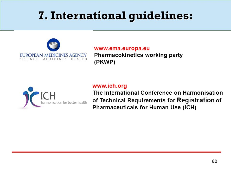 60 7. International guidelines: www.ema.europa.eu Pharmacokinetics working party (PKWP) www.ich.org The International Conference on Harmonisation of T
