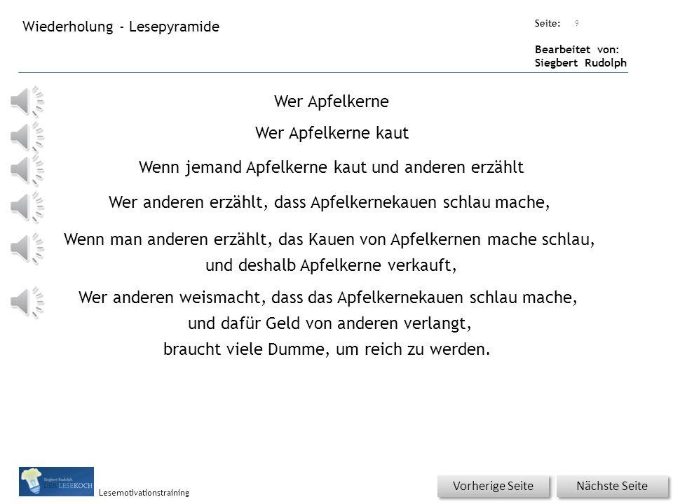 Übungsart: Seite: Bearbeitet von: Siegbert Rudolph Lesemotivationstraining Wiederholung - Spezielle Übungen Titel: Quelle: Wörterschlange! Werdasglaub