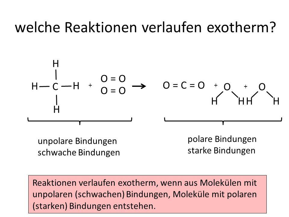 Reaktionen verlaufen exotherm, wenn aus Molekülen mit unpolaren (schwachen) Bindungen, Moleküle mit polaren (starken) Bindungen entstehen.