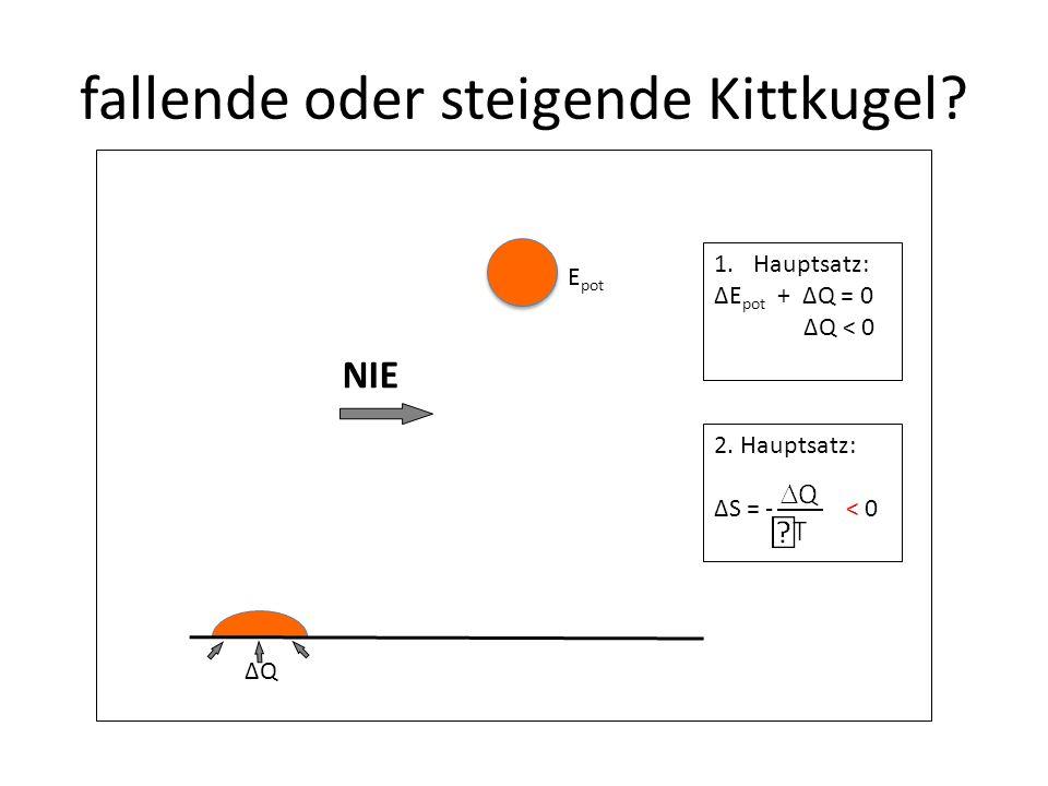 1.Hauptsatz: ΔE pot + ΔQ = 0 ΔQ < 0 fallende oder steigende Kittkugel.