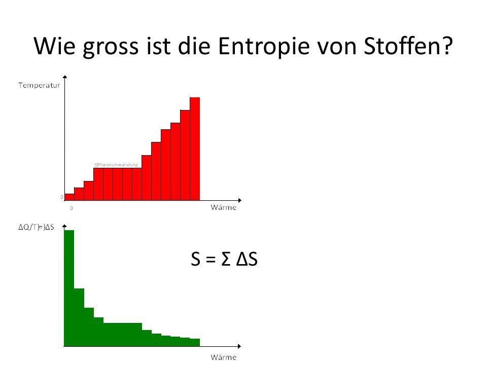 Wie gross ist die Entropie von Stoffen? S = Σ ΔS
