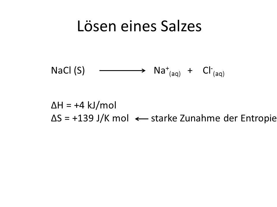 Lösen eines Salzes NaCl (S)Na + (aq) + Cl - (aq) ΔH = +4 kJ/mol ΔS = +139 J/K mol starke Zunahme der Entropie