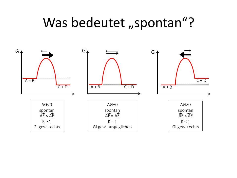 """Was bedeutet """"spontan . A + B C + D G G G ΔG<0 spontan AE < AE K > 1 Gl.gew."""