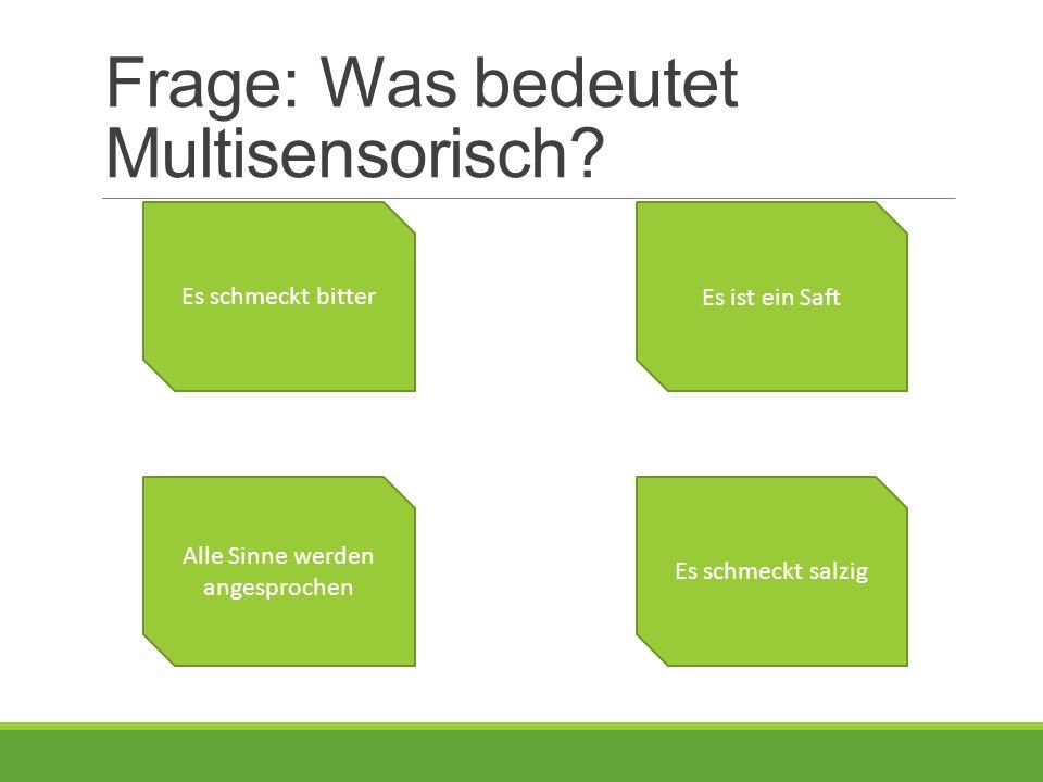 Frage: Was bedeutet Multisensorisch.