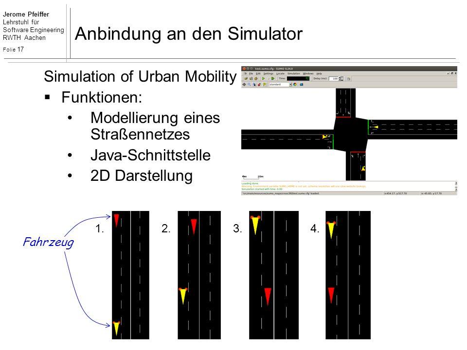 Jerome Pfeiffer Lehrstuhl für Software Engineering RWTH Aachen Folie 17 Anbindung an den Simulator 1.2.3.4. Simulation of Urban Mobility  Funktionen: