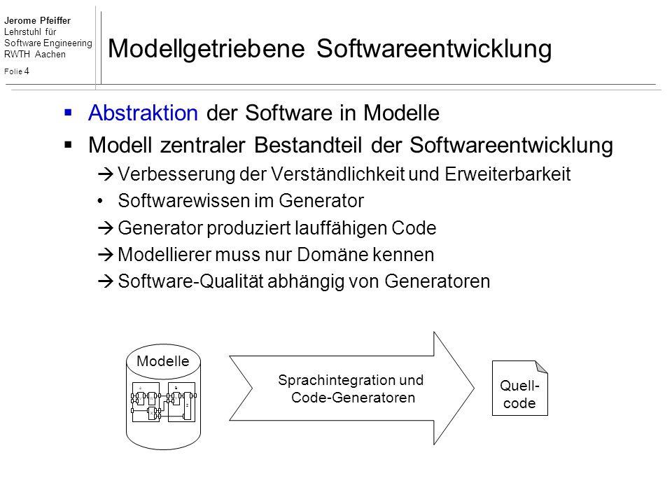 Jerome Pfeiffer Lehrstuhl für Software Engineering RWTH Aachen Folie 4 Modellgetriebene Softwareentwicklung  Abstraktion der Software in Modelle  Mo