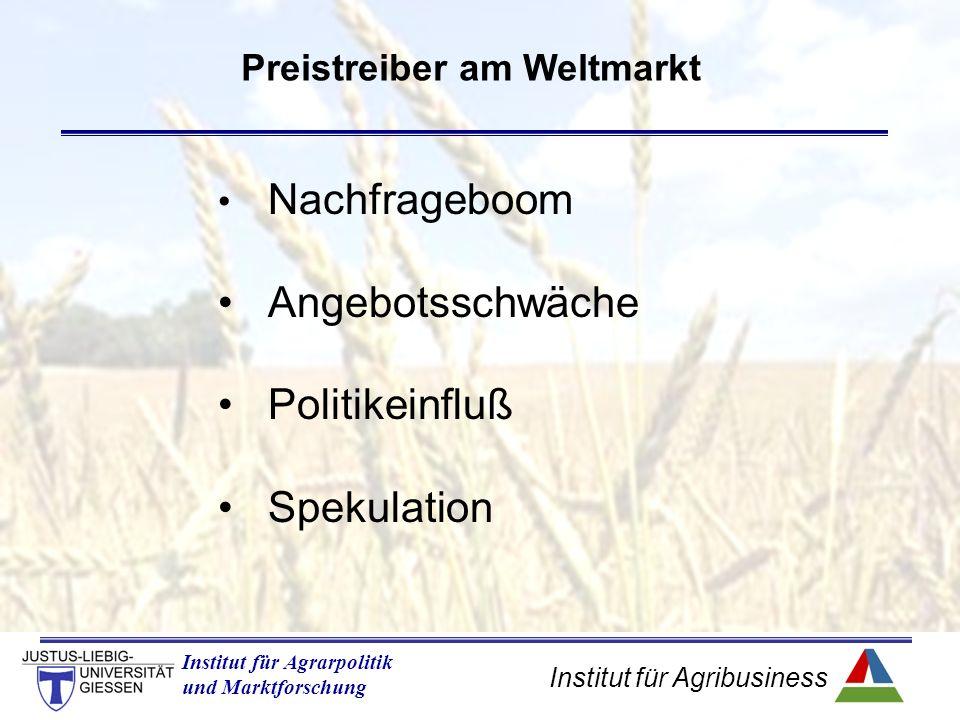 Institut für Agribusiness Institut für Agrarpolitik und Marktforschung Preistreiber am Weltmarkt Nachfrageboom Angebotsschwäche Politikeinfluß Spekulation