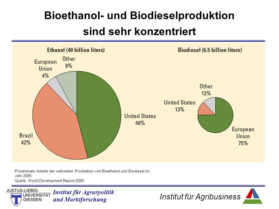 Institut für Agribusiness Institut für Agrarpolitik und Marktforschung Bioethanol- und Biodieselproduktion sind sehr konzentriert Quelle: World Development Report 2008 Prozentuale Anteile der weltweiten Produktion von Bioethanol und Biodiesel im Jahr 2006