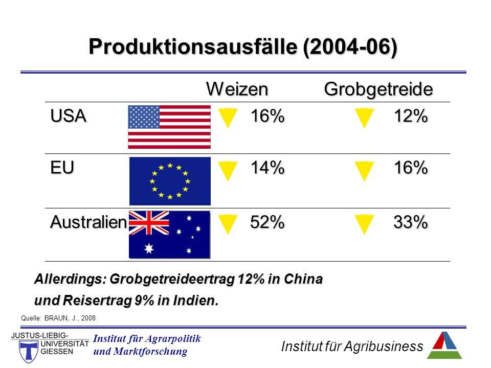 Institut für Agribusiness Institut für Agrarpolitik und Marktforschung Produktionsausfälle (2004-06) Allerdings: Grobgetreideertrag 12% in China und Reisertrag 9% in Indien.