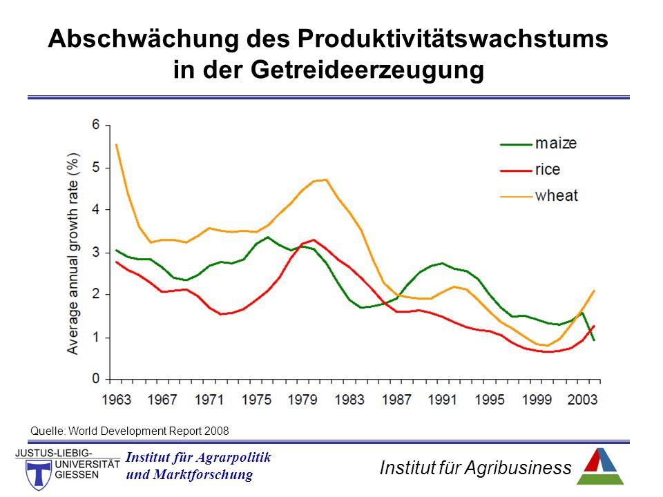 Institut für Agribusiness Institut für Agrarpolitik und Marktforschung Abschwächung des Produktivitätswachstums in der Getreideerzeugung Quelle: World Development Report 2008