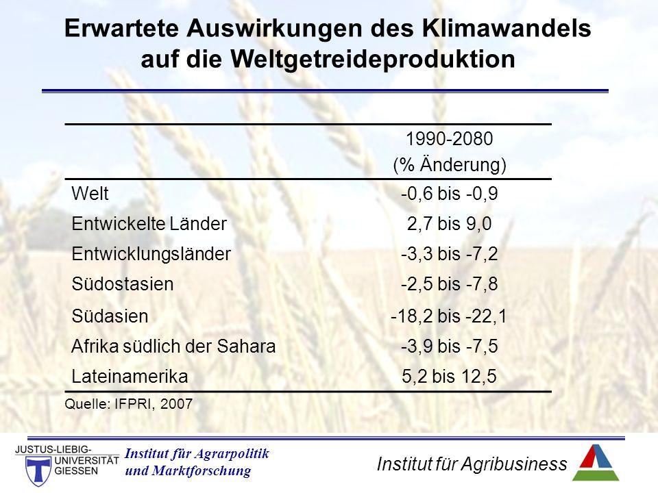 Institut für Agribusiness Institut für Agrarpolitik und Marktforschung Erwartete Auswirkungen des Klimawandels auf die Weltgetreideproduktion 1990-2080 (% Änderung) Welt-0,6 bis -0,9 Entwickelte Länder2,7 bis 9,0 Entwicklungsländer-3,3 bis -7,2 Südostasien-2,5 bis -7,8 Südasien-18,2 bis -22,1 Afrika südlich der Sahara-3,9 bis -7,5 Lateinamerika5,2 bis 12,5 Quelle: IFPRI, 2007