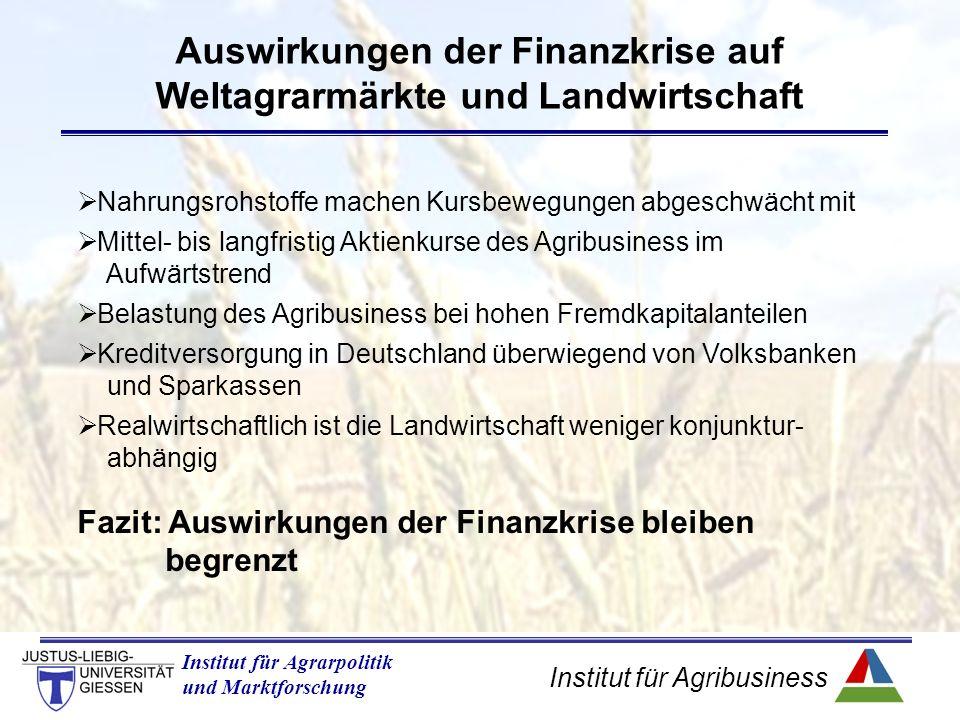 Institut für Agribusiness Institut für Agrarpolitik und Marktforschung Auswirkungen der Finanzkrise auf Weltagrarmärkte und Landwirtschaft  Nahrungsrohstoffe machen Kursbewegungen abgeschwächt mit  Mittel- bis langfristig Aktienkurse des Agribusiness im Aufwärtstrend  Belastung des Agribusiness bei hohen Fremdkapitalanteilen  Kreditversorgung in Deutschland überwiegend von Volksbanken und Sparkassen  Realwirtschaftlich ist die Landwirtschaft weniger konjunktur- abhängig Fazit: Auswirkungen der Finanzkrise bleiben begrenzt