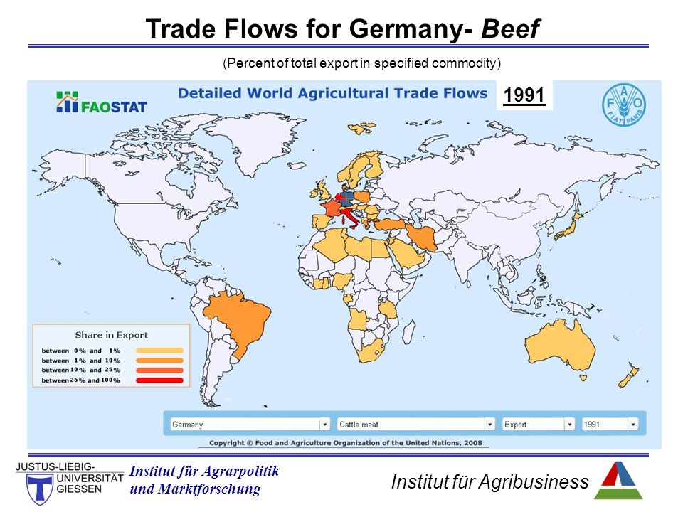 Institut für Agribusiness Institut für Agrarpolitik und Marktforschung Trade Flows for Germany- Beef (Percent of total export in specified commodity) 1991