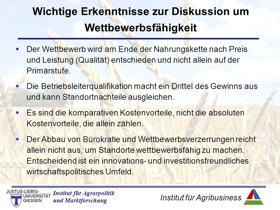 Institut für Agribusiness Institut für Agrarpolitik und Marktforschung Wichtige Erkenntnisse zur Diskussion um Wettbewerbsfähigkeit  Der Wettbewerb wird am Ende der Nahrungskette nach Preis und Leistung (Qualität) entschieden und nicht allein auf der Primärstufe.