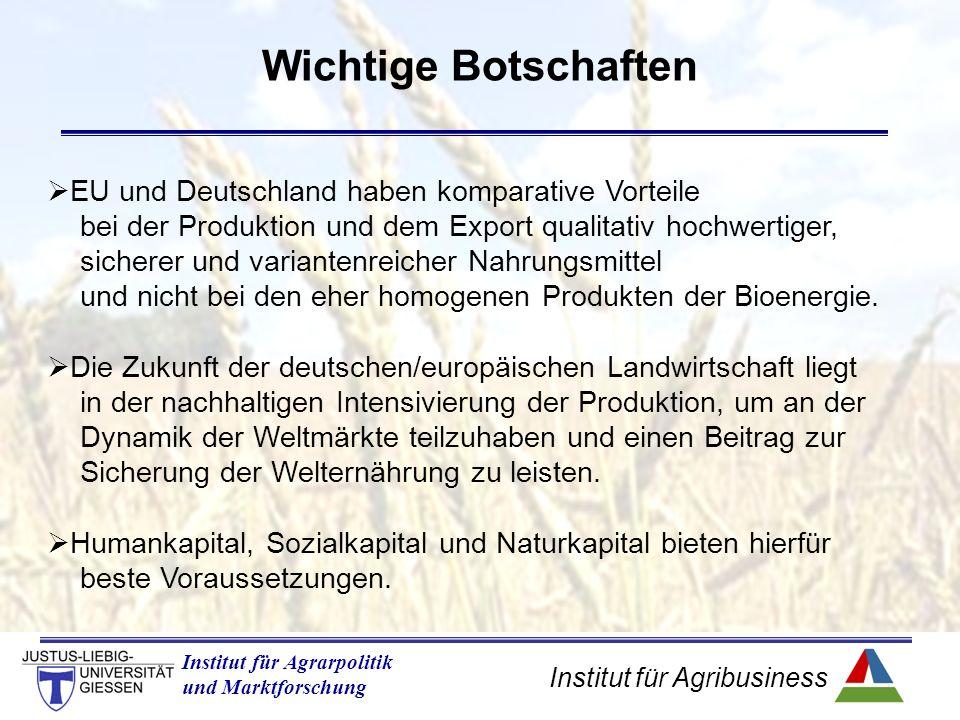 Institut für Agribusiness Institut für Agrarpolitik und Marktforschung Wichtige Botschaften  EU und Deutschland haben komparative Vorteile bei der Produktion und dem Export qualitativ hochwertiger, sicherer und variantenreicher Nahrungsmittel und nicht bei den eher homogenen Produkten der Bioenergie.