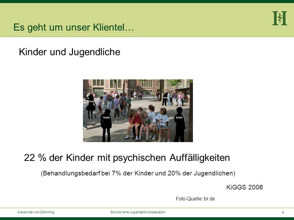 4 Alexander von Dömming Strukturierte Jugendamt-Kooperation Es geht um unser Klientel… Kinder und Jugendliche 22 % der Kinder mit psychischen Auffälligkeiten (Behandlungsbedarf bei 7% der Kinder und 20% der Jugendlichen) KiGGS 2006 Foto-Quelle: br.de
