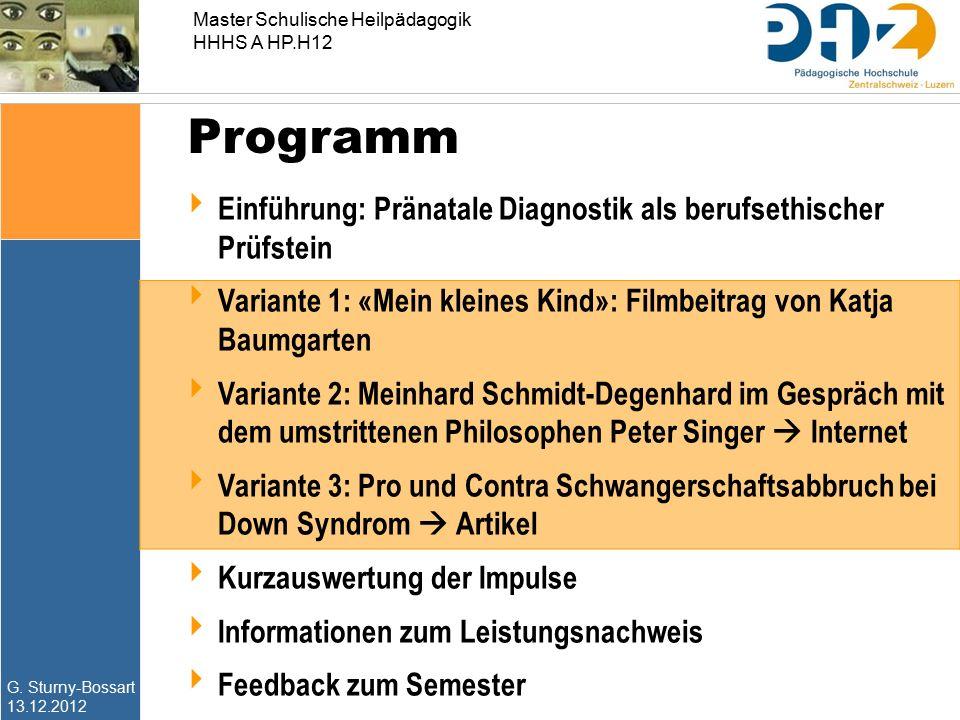 G. Sturny-Bossart 13.12.2012 Master Schulische Heilpädagogik HHHS A HP.H12 Programm  Einführung: Pränatale Diagnostik als berufsethischer Prüfstein 
