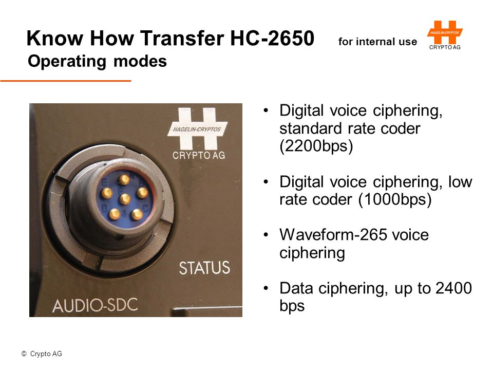 © Crypto AG Know How Transfer HC-2650 for internal use Operating modes Digital voice ciphering, standard rate coder (2200bps) Digital voice ciphering, low rate coder (1000bps) Waveform-265 voice ciphering Data ciphering, up to 2400 bps