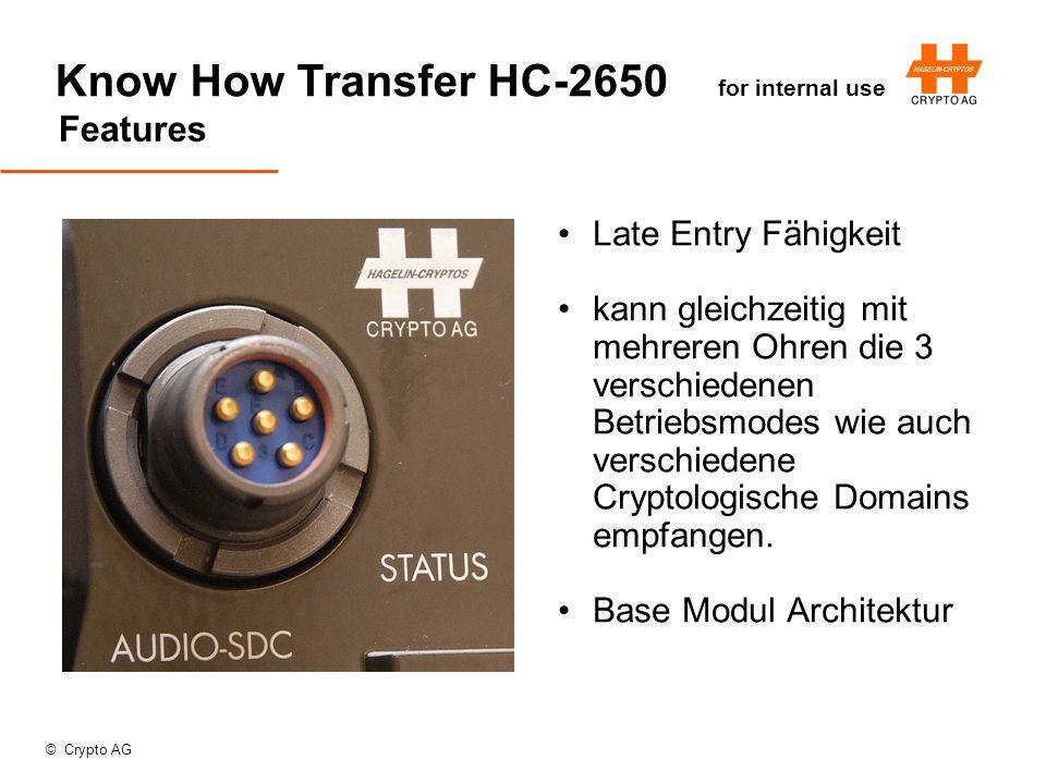 © Crypto AG Know How Transfer HC-2650 for internal use Features Late Entry Fähigkeit kann gleichzeitig mit mehreren Ohren die 3 verschiedenen Betriebsmodes wie auch verschiedene Cryptologische Domains empfangen.