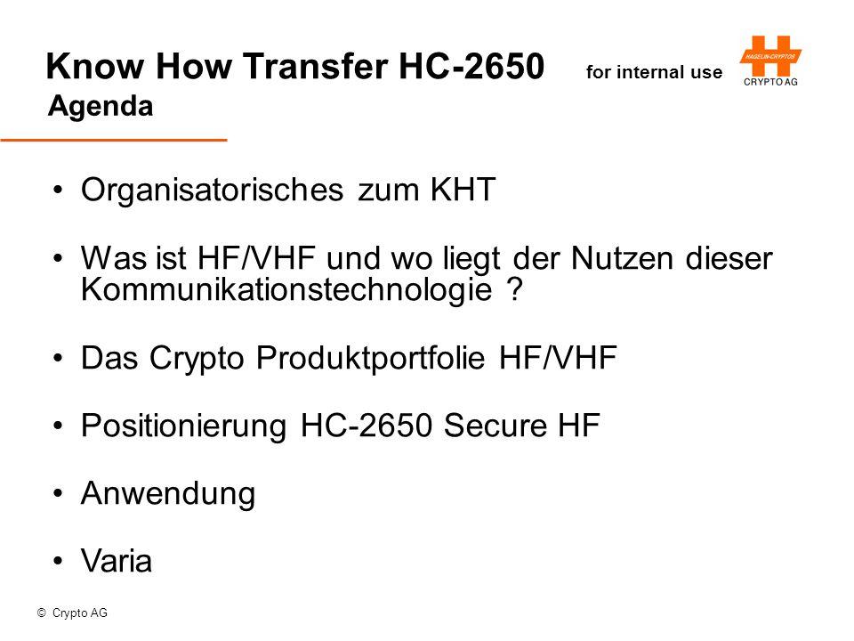 © Crypto AG Know How Transfer HC-2650 for internal use Agenda Organisatorisches zum KHT Was ist HF/VHF und wo liegt der Nutzen dieser Kommunikationstechnologie .