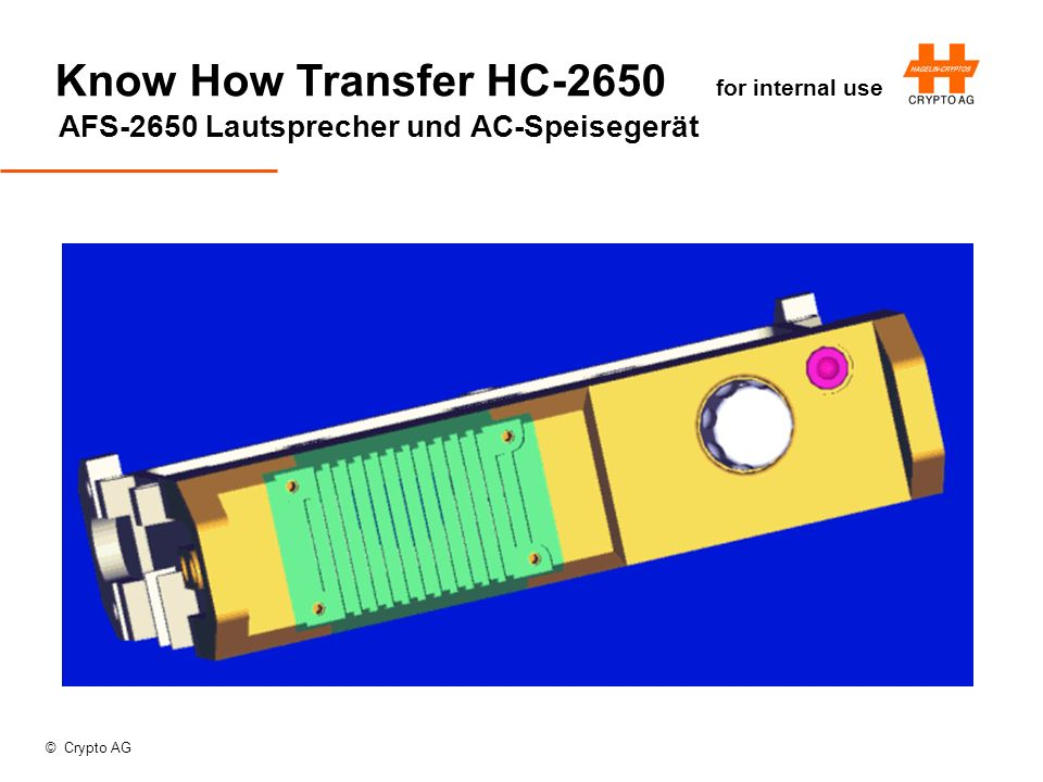© Crypto AG Know How Transfer HC-2650 for internal use AFS-2650 Lautsprecher und AC-Speisegerät