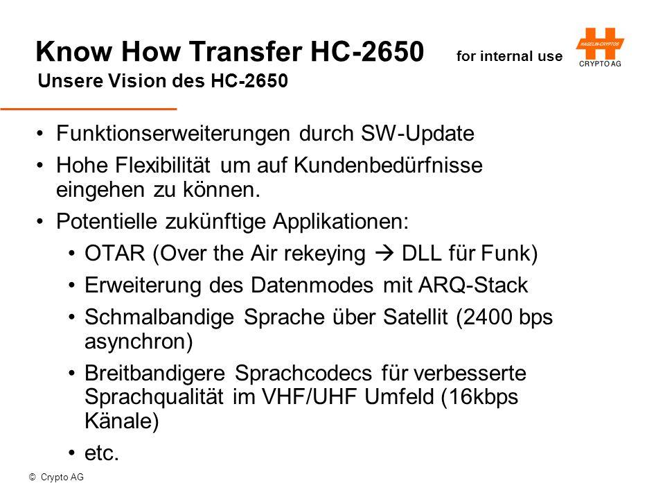 © Crypto AG Know How Transfer HC-2650 for internal use Unsere Vision des HC-2650 Funktionserweiterungen durch SW-Update Hohe Flexibilität um auf Kundenbedürfnisse eingehen zu können.