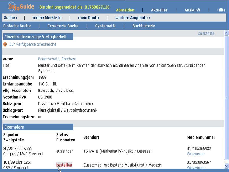Dr. A. Weber Universität Bayreuth InfoGuide – TOP 3.4 KEP Sitzung am 21.12.04 10