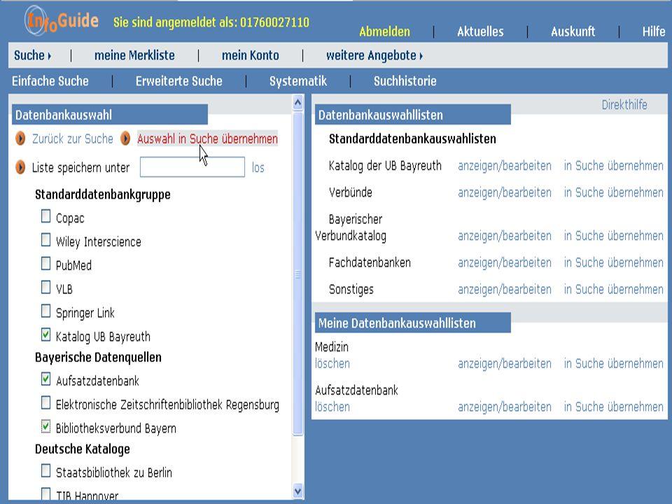 Dr. A. Weber Universität Bayreuth InfoGuide – TOP 3.4 KEP Sitzung am 21.12.04 2