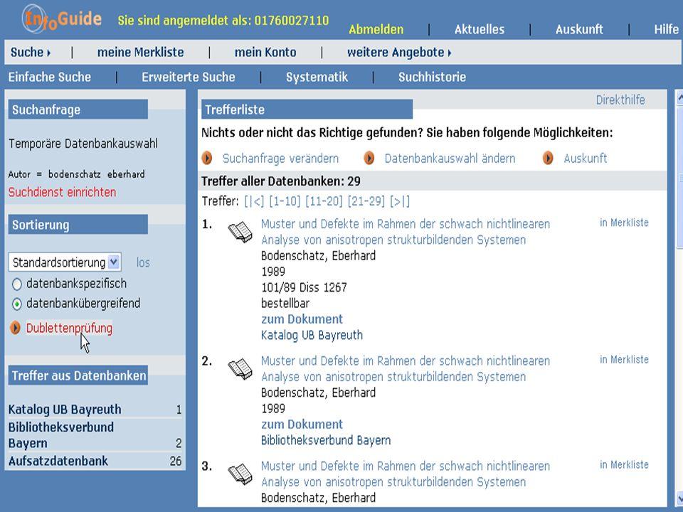 Dr. A. Weber Universität Bayreuth InfoGuide – TOP 3.4 KEP Sitzung am 21.12.04 5