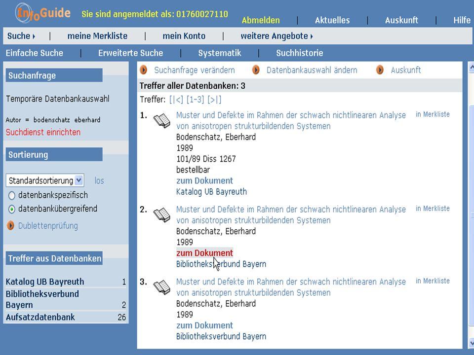 Dr. A. Weber Universität Bayreuth InfoGuide – TOP 3.4 KEP Sitzung am 21.12.04 7