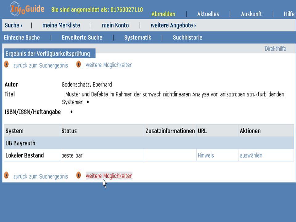 Dr. A. Weber Universität Bayreuth InfoGuide – TOP 3.4 KEP Sitzung am 21.12.04 8