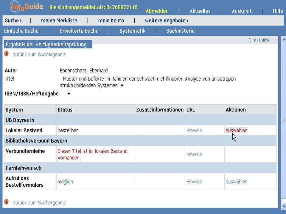 Dr. A. Weber Universität Bayreuth InfoGuide – TOP 3.4 KEP Sitzung am 21.12.04 9