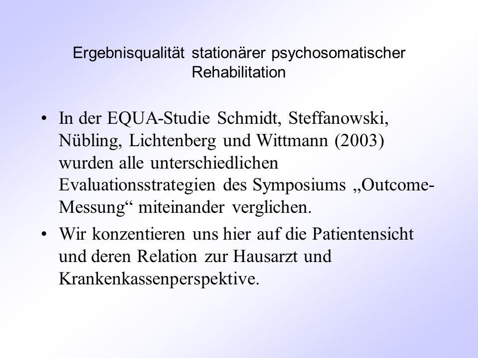 """Ergebnisqualität stationärer psychosomatischer Rehabilitation In der EQUA-Studie Schmidt, Steffanowski, Nübling, Lichtenberg und Wittmann (2003) wurden alle unterschiedlichen Evaluationsstrategien des Symposiums """"Outcome- Messung miteinander verglichen."""