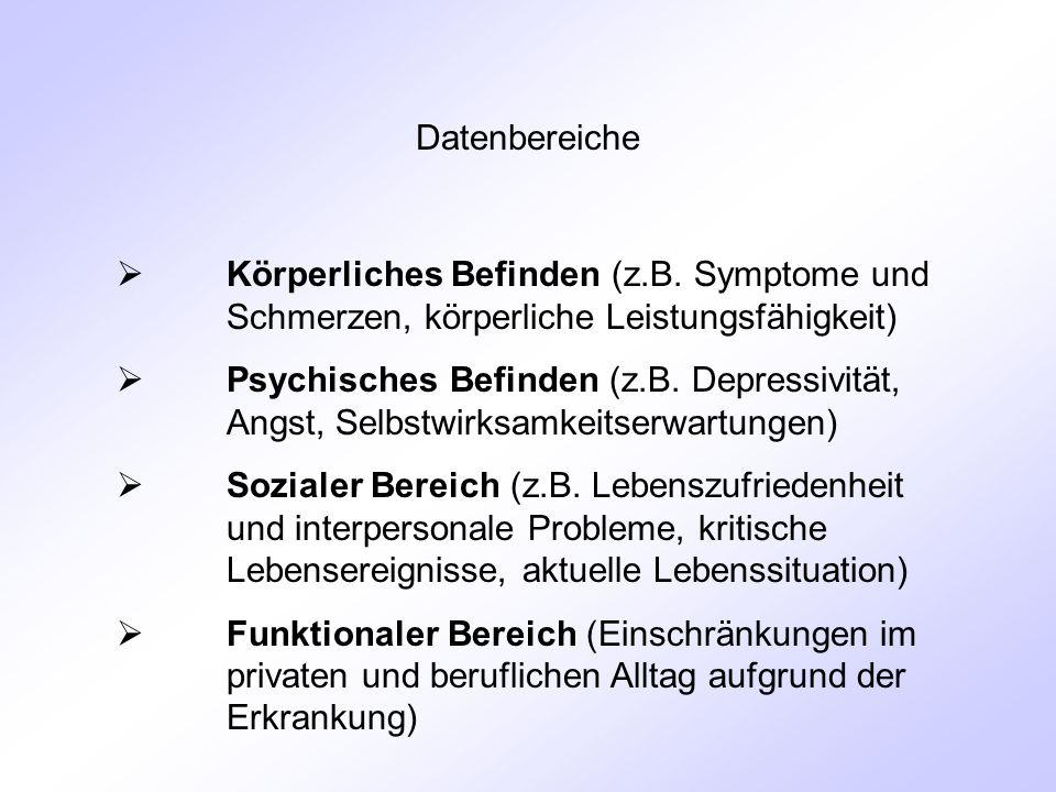Datenbereiche  Körperliches Befinden (z.B.