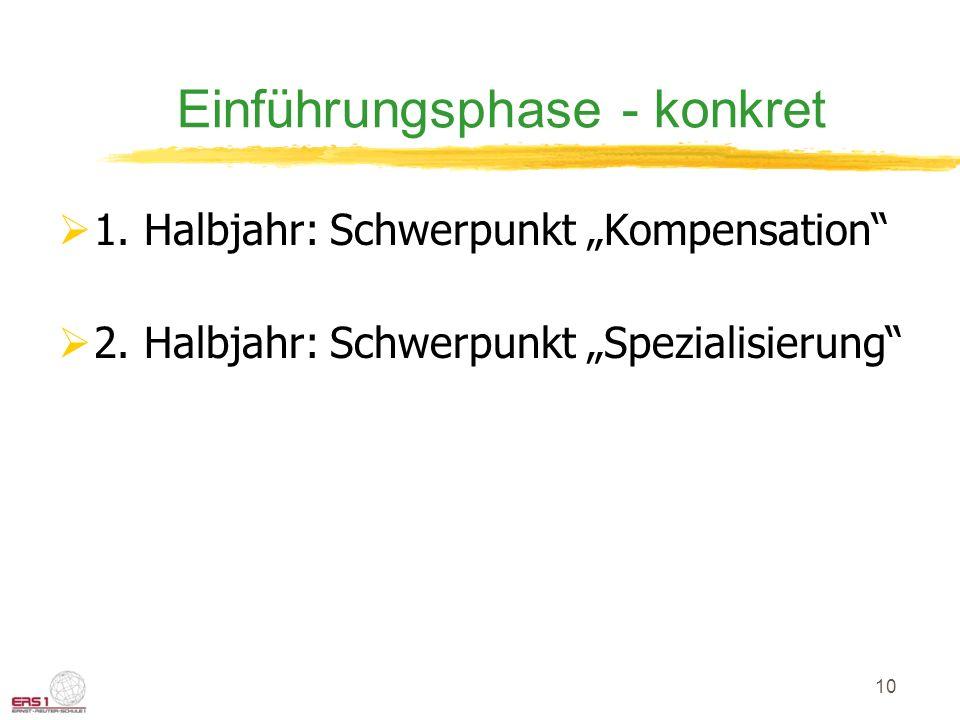 """10 Einführungsphase - konkret  1. Halbjahr: Schwerpunkt """"Kompensation""""  2. Halbjahr: Schwerpunkt """"Spezialisierung"""""""