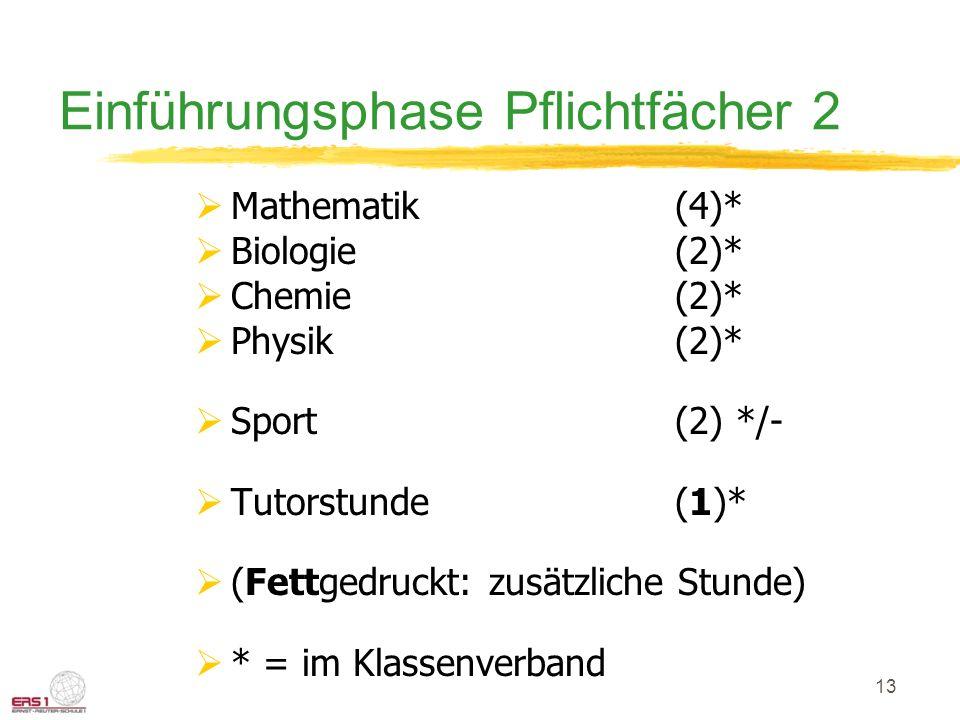 13 Einführungsphase Pflichtfächer 2  Mathematik (4)*  Biologie (2)*  Chemie(2)*  Physik(2)*  Sport(2) */-  Tutorstunde(1)*  (Fettgedruckt: zusä