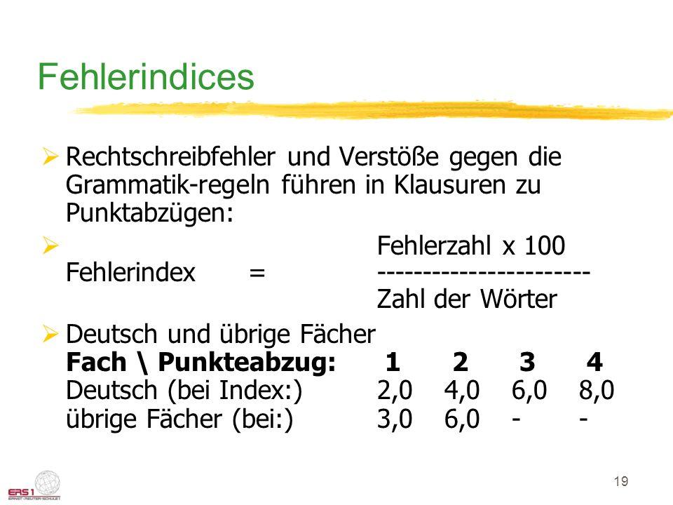 19 Fehlerindices  Rechtschreibfehler und Verstöße gegen die Grammatik-regeln führen in Klausuren zu Punktabzügen:  Fehlerzahl x 100 Fehlerindex =----------------------- Zahl der Wörter  Deutsch und übrige Fächer Fach \ Punkteabzug: 1 2 3 4 Deutsch (bei Index:)2,04,06,08,0 übrige Fächer (bei:)3,06,0--