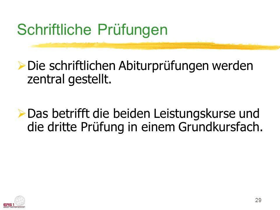 29 Schriftliche Prüfungen  Die schriftlichen Abiturprüfungen werden zentral gestellt.
