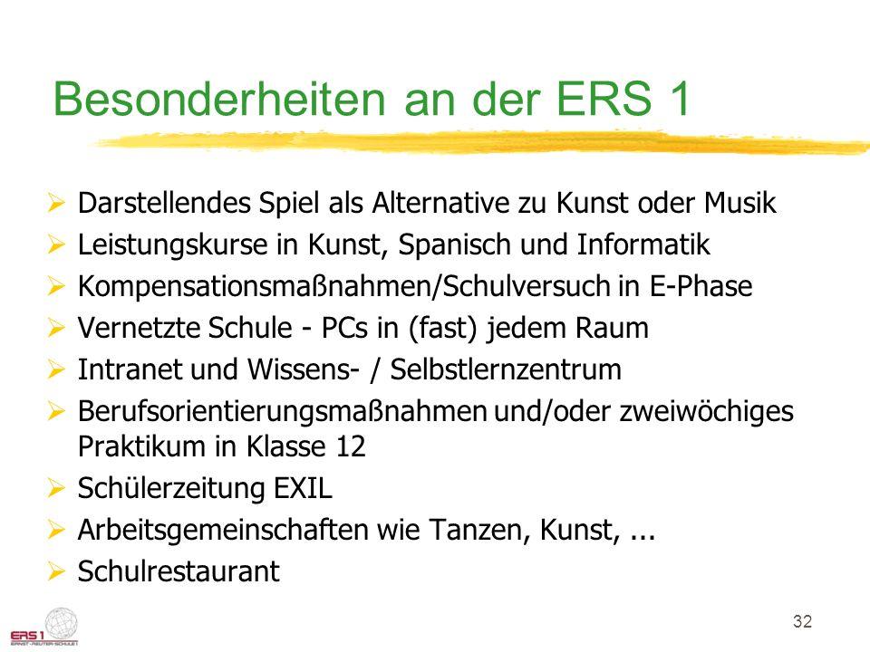 32 Besonderheiten an der ERS 1  Darstellendes Spiel als Alternative zu Kunst oder Musik  Leistungskurse in Kunst, Spanisch und Informatik  Kompensa