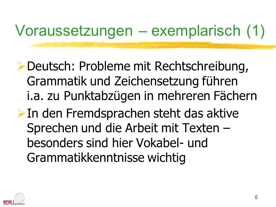 Voraussetzungen – exemplarisch (1)  Deutsch: Probleme mit Rechtschreibung, Grammatik und Zeichensetzung führen i.a. zu Punktabzügen in mehreren Fäche