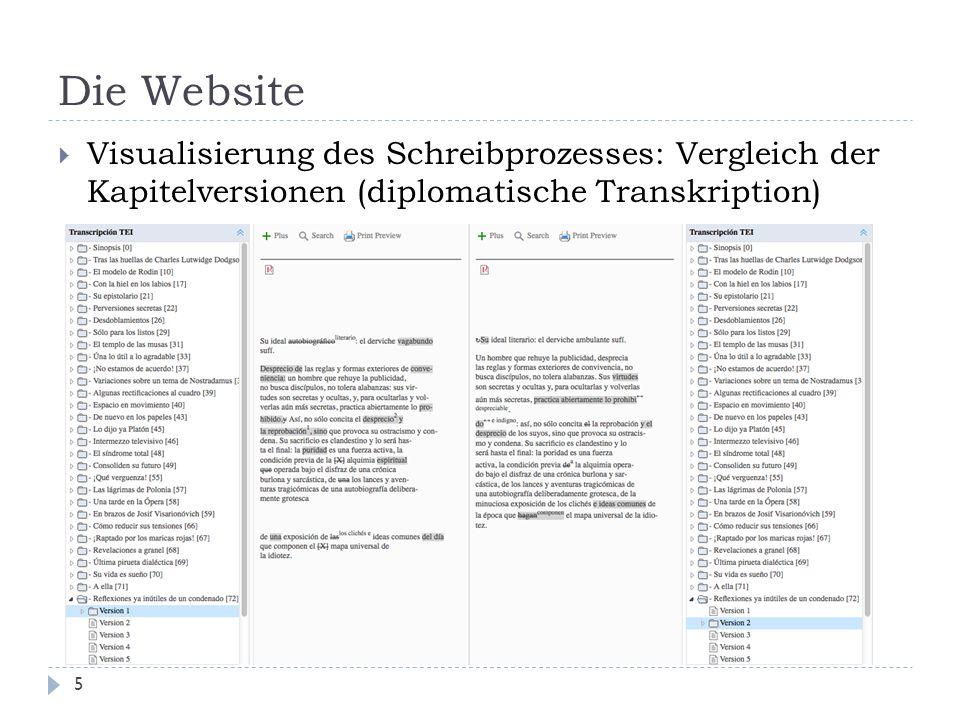 Die Website 5  Visualisierung des Schreibprozesses: Vergleich der Kapitelversionen (diplomatische Transkription)