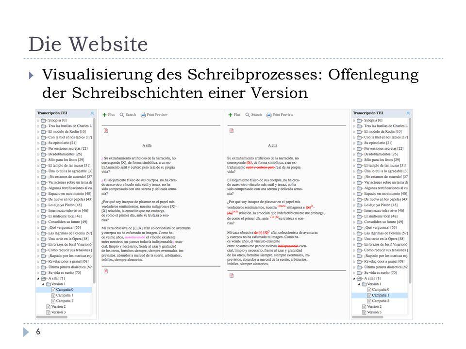 Die Website 6  Visualisierung des Schreibprozesses: Offenlegung der Schreibschichten einer Version