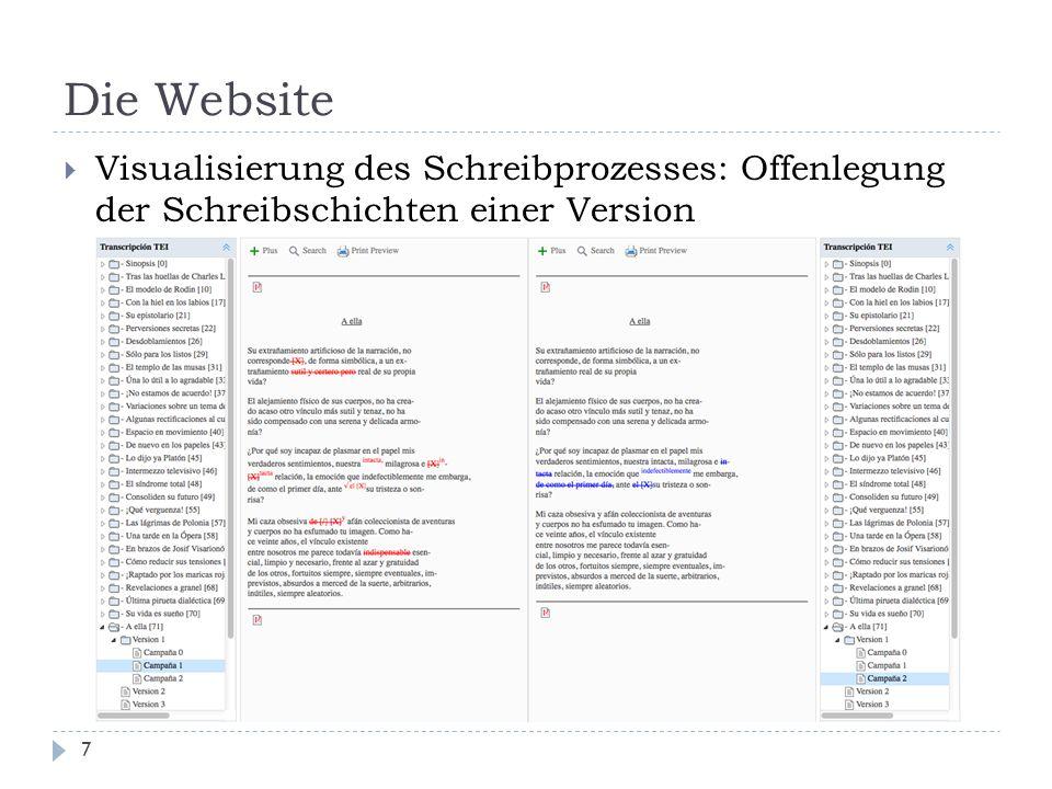 Die Website 7  Visualisierung des Schreibprozesses: Offenlegung der Schreibschichten einer Version