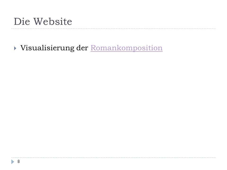 Die Website 8  Visualisierung der RomankompositionRomankomposition