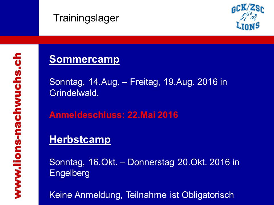Traktanden Trainingslager Sommercamp Sonntag, 14.Aug.