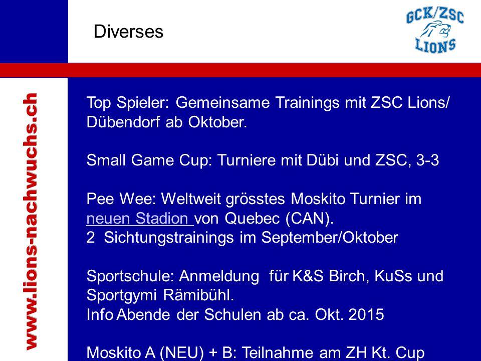 Traktanden Diverses Top Spieler: Gemeinsame Trainings mit ZSC Lions/ Dübendorf ab Oktober.