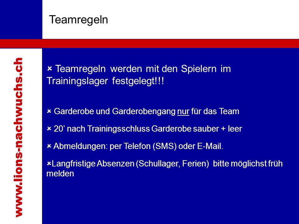 Teamregeln  Teamregeln werden mit den Spielern im Trainingslager festgelegt!!.