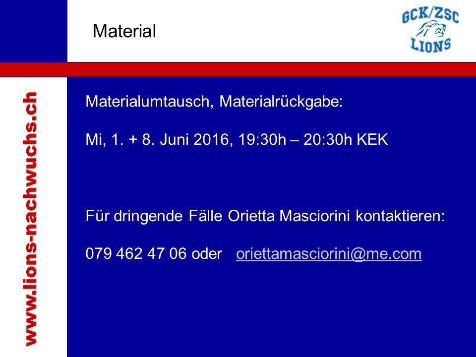 Traktanden Material Materialumtausch, Materialrückgabe: Mi, 1.