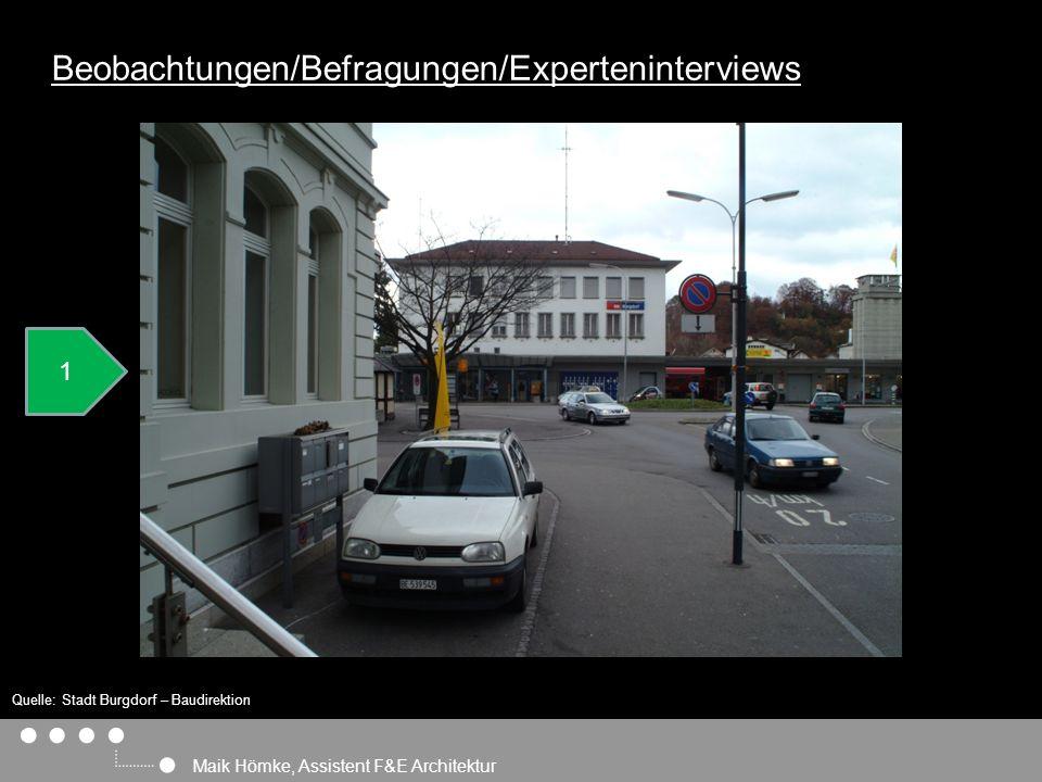 Maik Hömke, Assistent F&E Architektur Beobachtungen/Befragungen/Experteninterviews 1 1 Quelle: Stadt Burgdorf – Baudirektion (hrsg.): ESP Bahnhof Burgdorf Masterplanung, Burgdorf, Zürich (Eigenverlag) 2007.