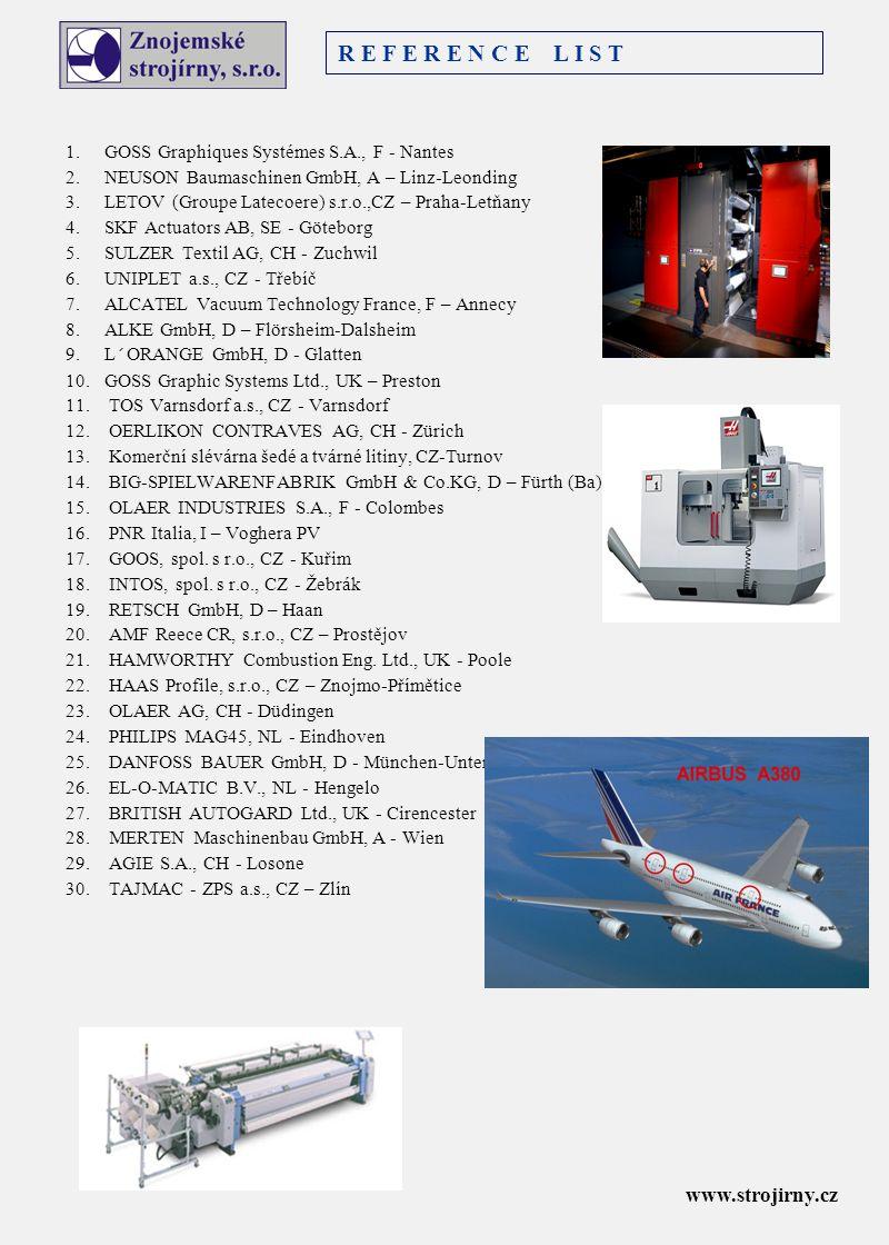 1. GOSS Graphiques Systémes S.A., F - Nantes 2. NEUSON Baumaschinen GmbH, A – Linz-Leonding 3. LETOV (Groupe Latecoere) s.r.o.,CZ – Praha-Letňany 4. S